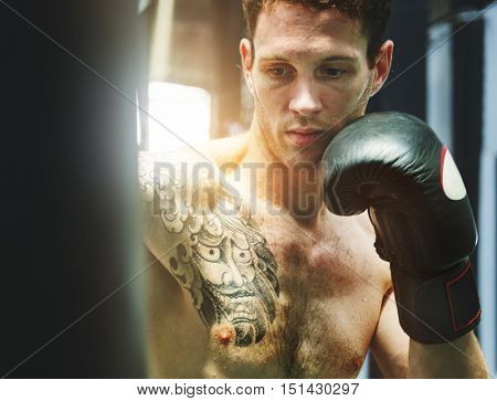 Boxer Punching Bag Training Strength Workout Concept