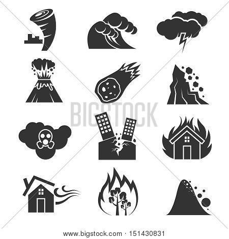 Fire and tsunami, snow storm and tornado, hurricane and earthquake disaster vector icons. Volcano and meteorite, rockfal and poisonous cloud illustration