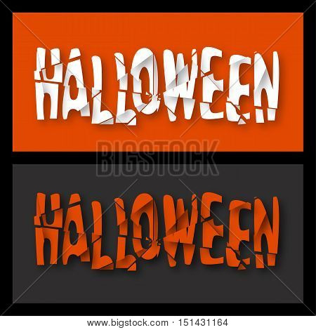 Halloween. Destroyed text. Header, element for celebratory design with soft shadow. Vector illustration