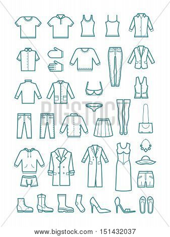 Mens and womens clothes thin line vector icons. Shoes and skirt, jeans and fashion garment illustration