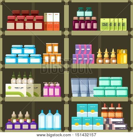 Pharmacy shelves with pills and drugs medicine boxes vector seamless pattern. Background apothecary, capsule in pack for health illustration