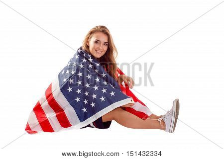 Happy Patriotic Woman Holding Usa Flag.