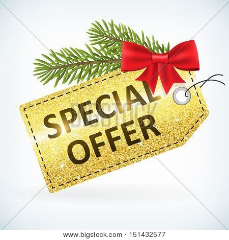 Christmas golden glitter special offer business sale vector delivery with bow and twig .Isolated from background. layered.