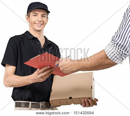 Smiling Deliveryman Holding a Package while Passing a Clipboard to a Person