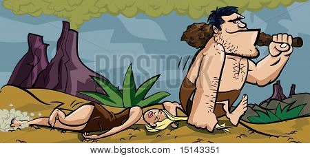 Caveman Dradding His Woman By Her Hair