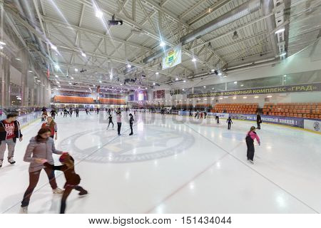 MOSCOW, RUSSIA - FEB 06, 2016: People skate on ice rink hockey complex GRAD