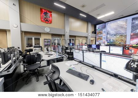 MOSCOW, RUSSIA - FEB 04, 2016: space situation Centre TSODD (center traffic management), monitoring of passenger traffic