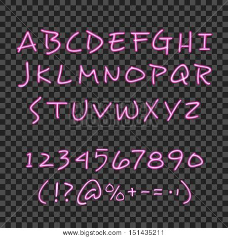 Calligraphy lettering style poster with pink neon hand drawn alphabet ciphers and symbols with  transparent background vector illustration