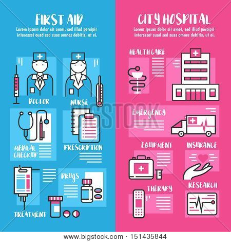 Medical vertical banners set of first aid and city hospital line collection with emergency therapy insurance elements flat vector illustration