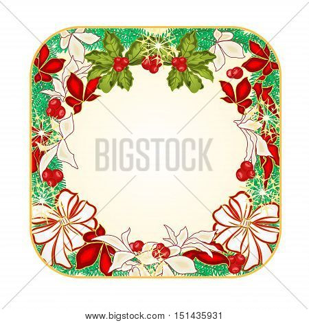 Button square Christmas Spruce with white bows and poinsettia vector illustration