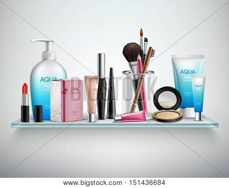 Makeup cosmetics accessories and beauty moisturizing products on bathroom wall glass shelf realistic image poster vector illustration
