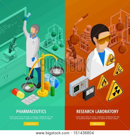 Science vertical banners set with research laboratory symbols isometric isolated vector illustration