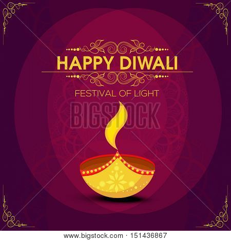 Elegant greeting card design with creative oil lamp on floral decorated background for Indian Festival of Lights, Happy Diwali celebration.