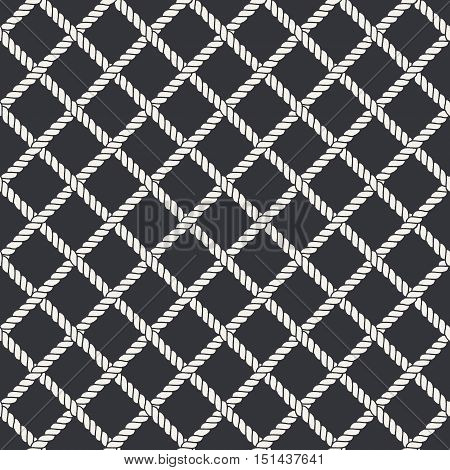 Marine rope line seamless pattern. Endless navy illustration with white rope ornament, crossing cord strokes on black background. Trendy textured backdrop. Vector for fabric, wallpaper, wrapping.