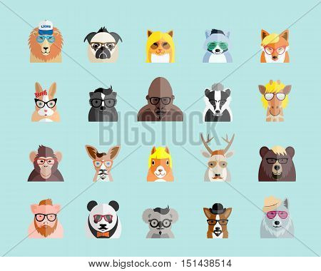 Flat Style Hipster Animals Avatar Vector Portraits or Icon Set for Social Media, Web Sites, etc. On Light Blue Background.