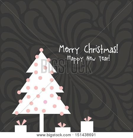 Happy new year card. Christmas card with copy space.