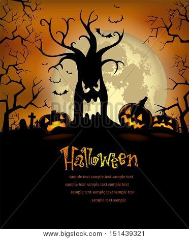 Halloween background with disgusting tree and scary pumpkins
