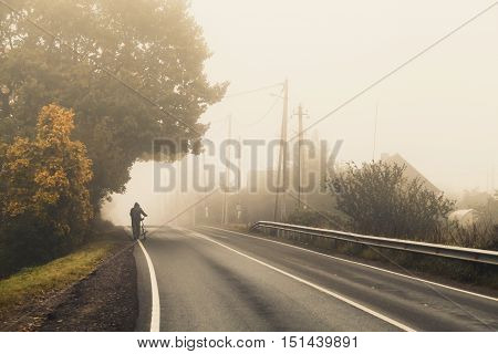 Rural Highway In Autumn Foggy Morning