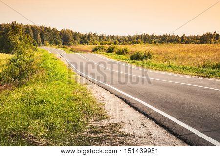 Rural Highway, Toned Landscape Photo