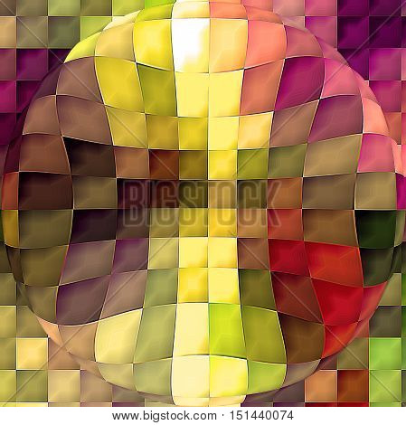 Abstract coloring background of the horizon gradient with visual mosaic, cubism,spherize and pinch effects