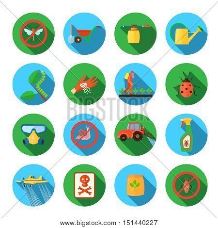 Pesticides and farming round shadow icons set flat isolated vector illustration