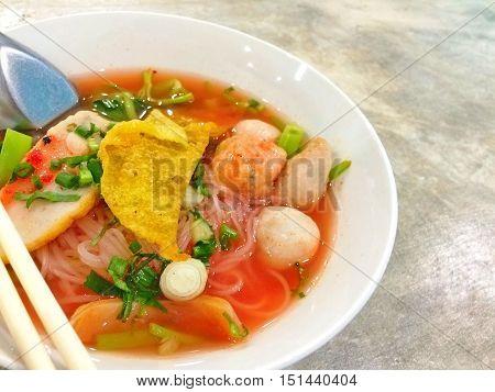 Closeup Thai noodle yen-ta-fo with copy space