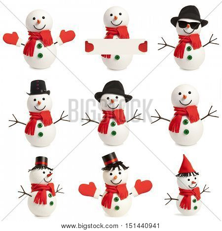 Set happy snowman isolated on white background