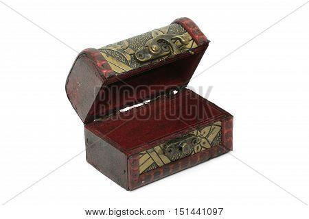 Treasure Box, Vintage Old Storage Box Isolated On White Background