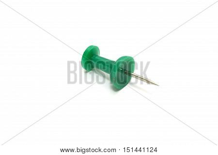 Isolated Green Push Pin On White Background