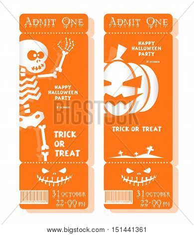 Set of funny holiday ticket: title Happy Halloween party Trick or Treat and skeleton pumpkin. Concept for banners cards flyers posters. Vector illustration in flat or kids paper applique style