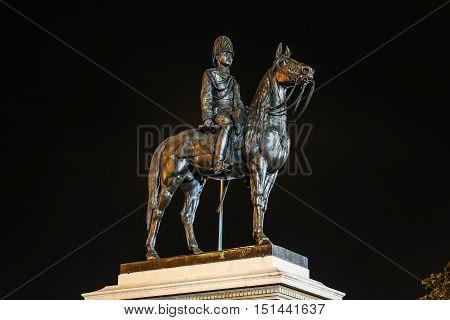 Bangkok Thailand OCTOBER 08 2016: Night time of King Rama V statue monument in Bangkok Thailand.