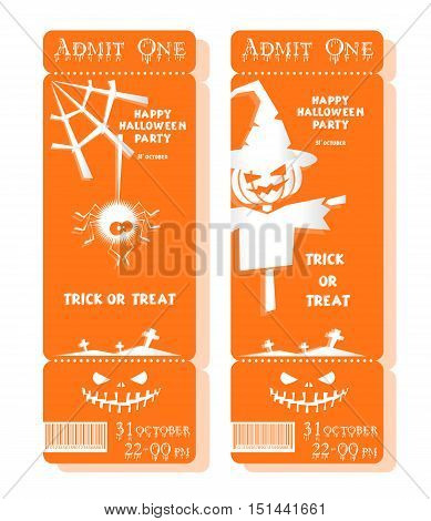 Set of funny holiday ticket: title Happy Halloween party Trick or Treat and scarecrow spider pumpkin. Concept banners card flyers posters. Vector illustration in flat or kids paper applique style