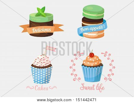 Dessert cake and sweetie cupcakes, pastry with mint leaf on top and ribbons saying delicious and bon apetit, love. Ideal for confectionery logo or bakery banner, celebration emblem