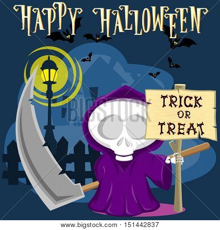 Halloween background. Funny little death with a large scythe on the street of the town. Cartoon style. Concept design for banners posters flyer or cards. Vector illustration