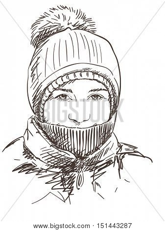 Sketch of young girl in winter hat with bubo Hand drawn vector illustration