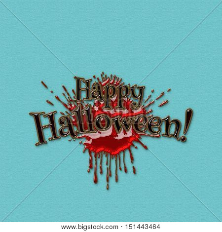 Happy Halloween lettering greeting card. Black letters with a red splash a bloodstain. Halloween banner with place for your text or pictures. 3D illustration. Golden metal and colored glass texture.