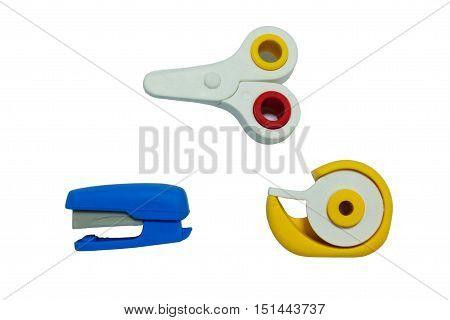 Scissors Stapler And Tape in Isolation on White
