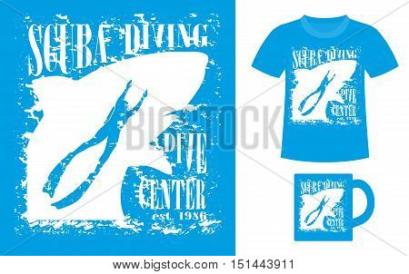 Pattern design concept for printing on T-shirts or souvenirs: title Scuba diving. Dive center and figure diver on shark silhouette background. Vintage style hand drawn. Vector illustration