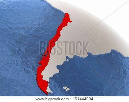 Chile On Globe