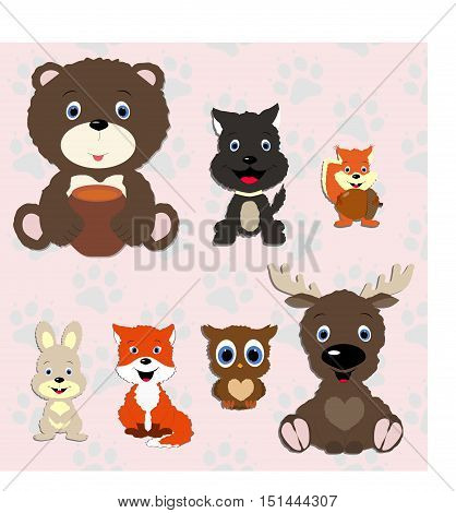 Set of animals in cartoon style. Cute animals on the background with traces of animals.  Forest.Template for design and decoration. cute sticker album, scrapbook. Baby vector illustration. Baby shower