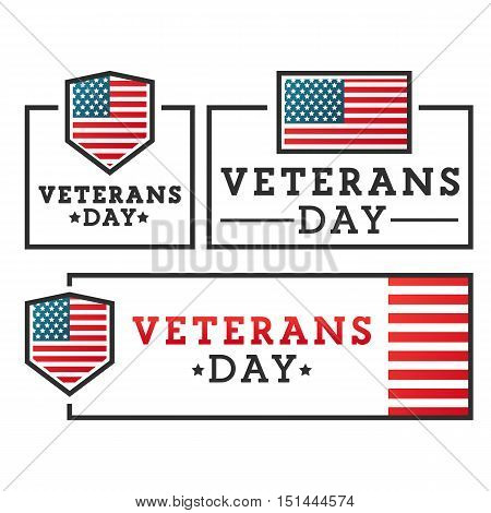 Veterans day with American flags. Set vector labels, emblem, banner.