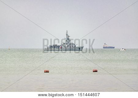 SALINAS, ECUADOR, OCTOBER - 2015 - Ecuadorian army ship at pacific ocean in Salinas Ecuador