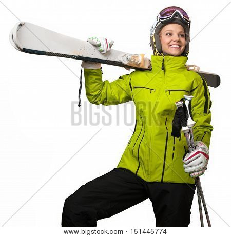 Woman wearing sports jacket and goggles who hands skis