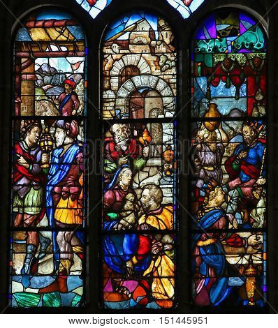 Stained Glass Of Jesus And Mary In The New Cathedral Of Salamanca
