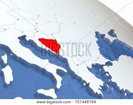 Bosnia On Globe