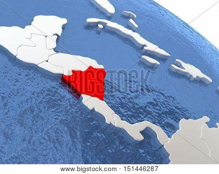 Nicaragua On Globe
