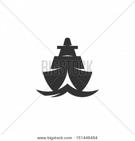 Ship Icon isolated on a white background. Ship Logo design vector template. Simple Logotype concept icon. Symbol, sign, pictogram, illustration - stock vector