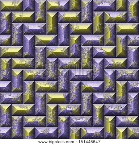Relief seamless 3d mosaic pattern of gold and violet scratched rectangles.Gold and violet 3d metal pattern of beveled rectangles