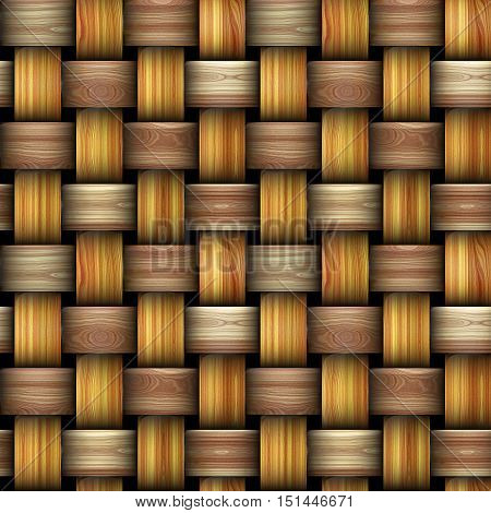 Seamless wooden wicker pattern reminiscent of old basket structure. Brown, orange and beige intertwined wooden texture
