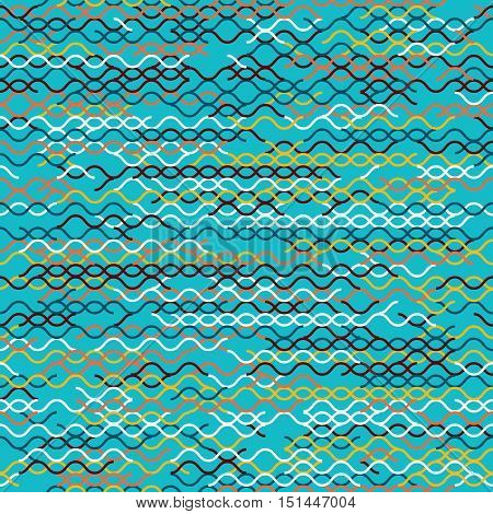 Abstract geometric wavy background. Abstract technology pattern with colorful geometric shapes in tessellation. Linear abstract  waves, bright random colors. Vector seamless linear pattern.
